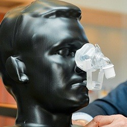 Model of patient with CPAP nose mask