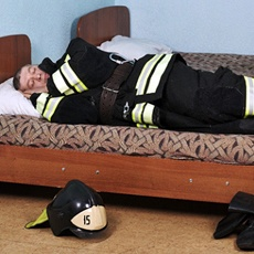 Sleeping firefighter, resting well thanks to oral appliance