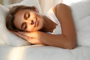 woman getting restful sleep